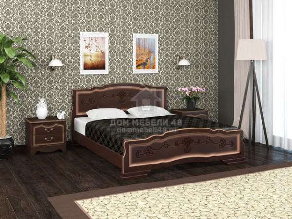 """Кровать """"Карина-6"""" 1,6м Массив (Орех Тёмный) производитель: Бравомебель"""