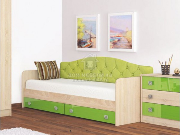 Кровать с ящиками Колибри 0,8м и мягкой спинкой (Акрил Мохито) Производитель: ТЭКС