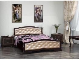 """Кровать """"Карина-10"""" 1,4м Массив (Орех Тёмн/ Экокожа Светл) производитель: Бравомебель"""