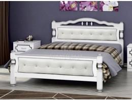 """Кровать """"Карина-11"""" 1,6м Массив (Белый Жемчуг/ Экокожа Светлая) производитель: Бравомебель"""
