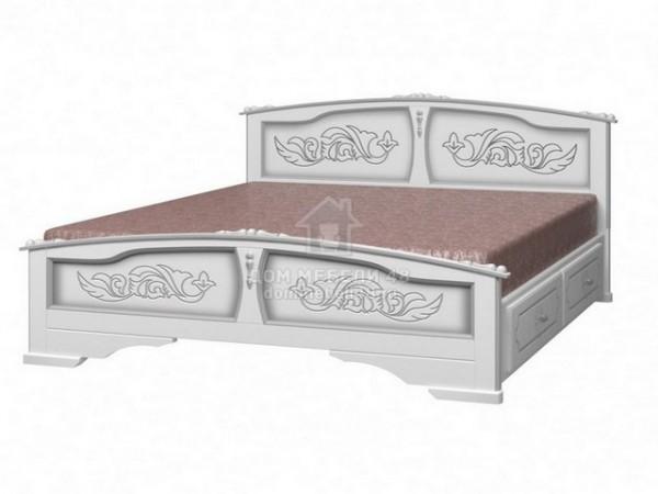 """Кровать """"Елена"""" с ящиками 1,6м Массив (Белый Жемчуг)"""