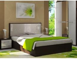 Кровать двуспальная «Луиза» 1,4м/1,6м (Венге / Белый металлик) Производитель: Стиль