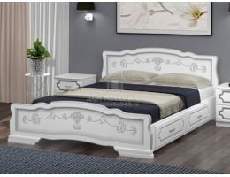 """Кровать """"Карина-6"""" с ящиками 1,8м Массив (Белый Жемчуг) производитель: Браво"""