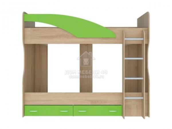 """Детская 2-х ярусная кровать """"Мийа"""" (А) 2,32м Бук/Зеленый"""