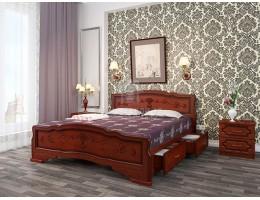"""Кровать """"Карина-6"""" с ящиками 1,4м Массив (Орех) производитель: Бравомебель"""