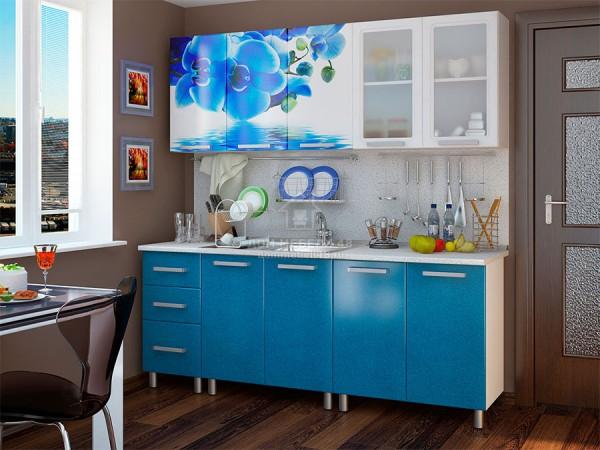 Кухня Люкс Лазурь с фотопечатью МДФ 2.0м. БТС