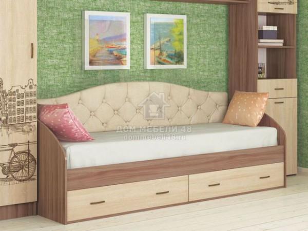 """Кровать """"Орион"""" 0,8м с ящиками и мягкой спинкой Производитель: ТЭКС"""