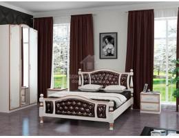 """Кровать """"Жасмин"""" 1,4м Массив (Дуб Молочн/ Экокожа Тёмная) производитель: Бравомебель"""