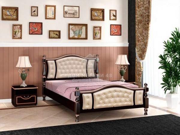 """Кровать """"Жасмин"""" 1,6м Массив (Орех Тёмн/ Экокожа Светлая) производитель: Бравомебель"""