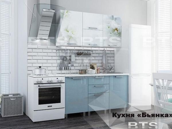 """Кухня """"Бьянка"""" 1,5м голубой МДФ производитель: БТС"""
