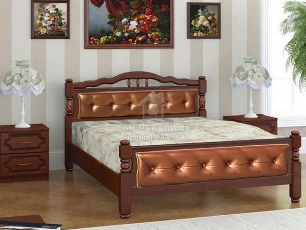 """Кровать """"Карина-11"""" 1,4м Массив (Орех/ Экокожа)"""