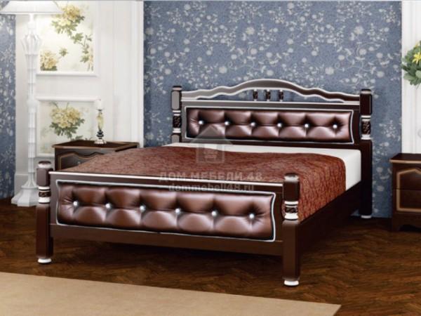 """Кровать """"Карина-11"""" 1,6м Массив (Орех Тёмн/ Бриллиант) производитель: Бравомебель"""