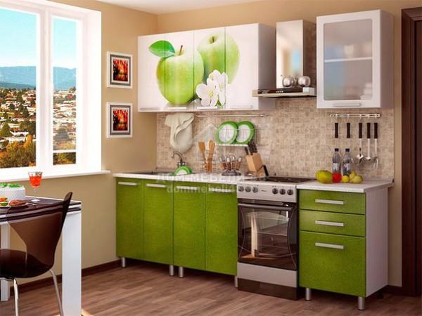 Кухня Яблоко 1,8м МДФ с фотопечатью БТС