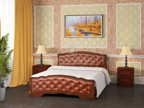 """Кровать """"Карина-10"""" 1,6м Массив (Орех/ Экокожа) производитель: Бравомебель"""