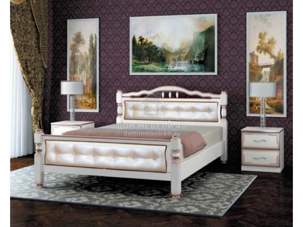 """Кровать """"Карина-11"""" 1,6м Массив (Дуб Молочн/ Экокожа Светлая) производитель: Бравомебель"""