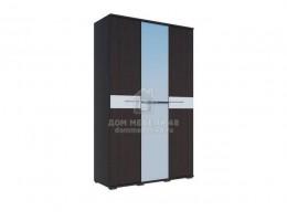 Шкаф трехстворчатый «Луиза» 1,35м Венге/Белый глянец  Производитель: Стиль