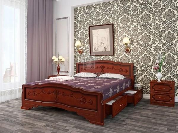 """Кровать """"Карина-6"""" с ящиками 1,4м Массив (Орех)"""