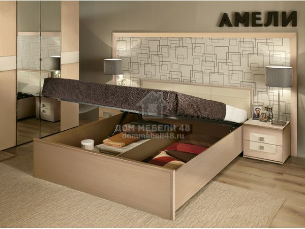 """Кровать """"Амели"""" 1,4х2,0м, с подъемным механизмом, Дуб отбеленный"""