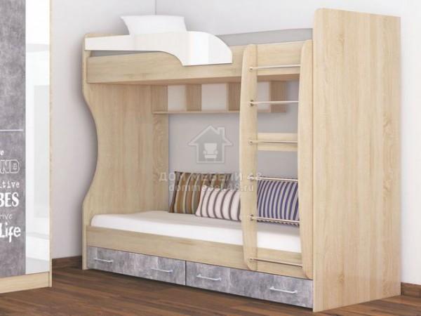 """Кровать 2-х ярусная """"Колибри Лофт"""" 0,8м (Ателье Светлое, Акрил Белый) Производитель: ТЭКС"""