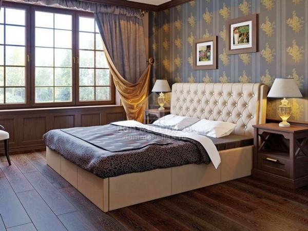"""Кровать """"Прима"""" 1,6м с подъемным механизмом, кожзам беж, стразы"""
