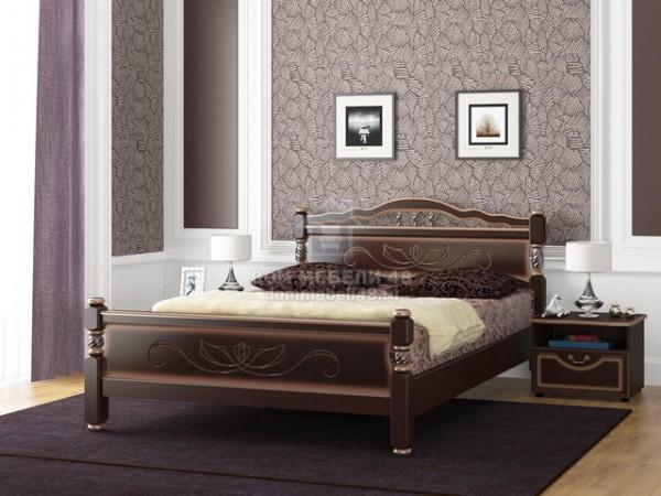 """Кровать """"Карина-5"""" 0,9м Массив (Орех Тёмный) производитель: Бравомебель"""