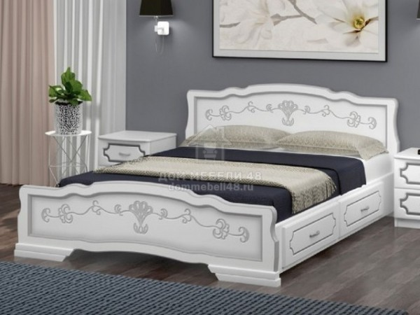 """Кровать """"Карина-6"""" с ящиками 1,6м Массив (Белый Жемчуг) производитель: Браво"""