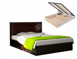Кровать с подъемным механизмом «Луиза» 1,6м (Венге/Экокожа кайман коричневый) Производитель: Стиль