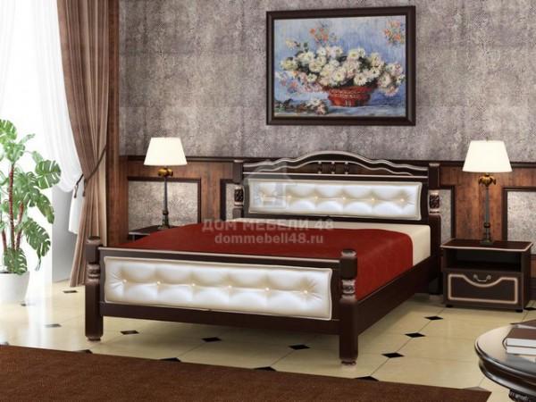 """Кровать """"Карина-11"""" 1,6м Массив (Орех Тёмн/ Экокожа Светлая) производитель: Бравомебель"""