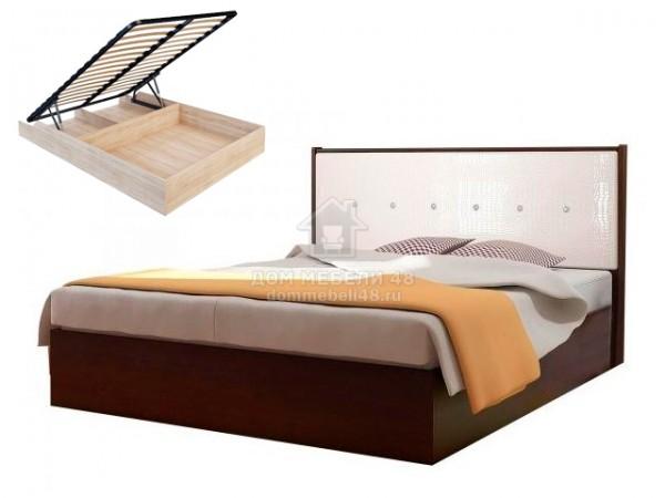 Кровать с подъемным механизмом «Луиза» 1,6м (Венге/Экокожа кайман белый) Производитель: Стиль