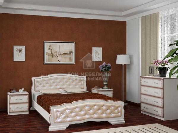 """Кровать """"Карина-10"""" 1,6м Массив (Дуб Молочн/ Экокожа Светл) производитель: Бравомебель"""