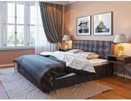 """Кровать """"Лагуна"""" 1,6м с подъемным механизмом, кожзам коричневый"""