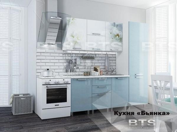 """Кухня """"Бьянка"""" 2,1м голубой МДФ производитель: БТС"""