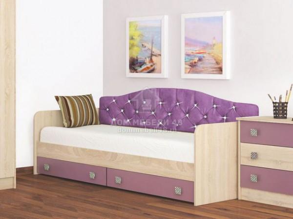 Кровать с ящиками Колибри 0,8м и мягкой спинкой (Виола) Производитель: ТЭКС