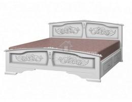 """Кровать """"Елена"""" с ящиками 1,4м Массив (Белый Жемчуг) производитель: Браво"""