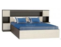 """Кровать с закроватным модулем """"Бася"""" 1,6м ЛДСП (КР 552) производитель: Стендмебель"""