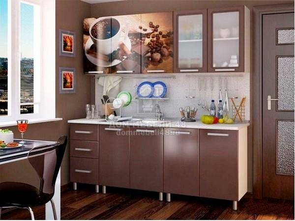 Кухня Люкс Шоколад с фотопечатью МДФ 2.0м. БТС