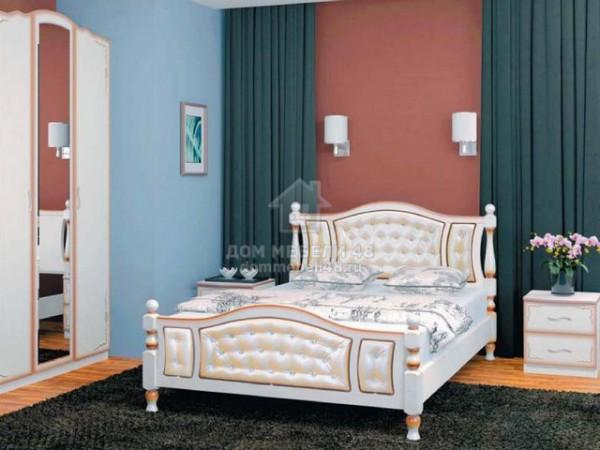 """Кровать """"Жасмин"""" 1,6м Массив (Дуб Молочн/ Экокожа Светлая) производитель: Бравомебель"""