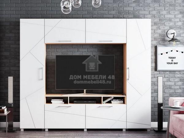 """Гостиная """"Марко"""" 2,4м Белый глянец ЛДСП+МДФ Производитель: Стиль"""