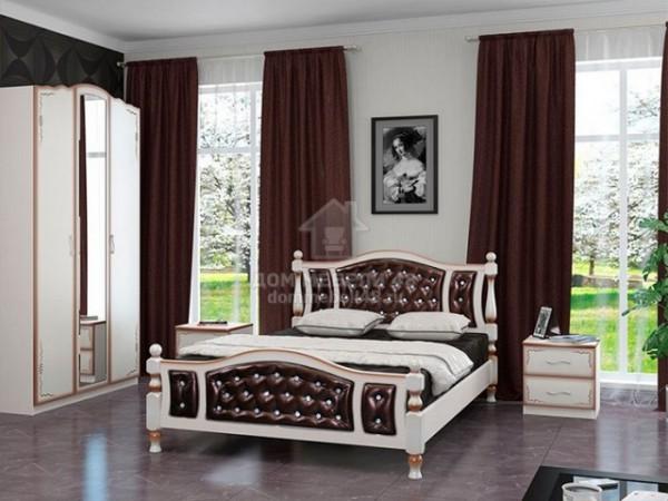 """Кровать """"Жасмин"""" 1,6м Массив (Дуб Молочн/ Экокожа Тёмная) производитель: Бравомебель"""