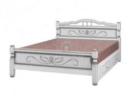 """Кровать """"Карина-5"""" с ящиками 0,9м Массив (Белый Жемчуг) производитель: Браво"""