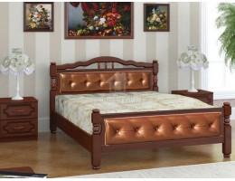 """Кровать """"Карина-11"""" 1,4м Массив (Орех/ Экокожа) производитель: Бравомебель"""